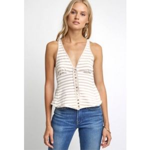 Free People  Womens White and Beige Tank